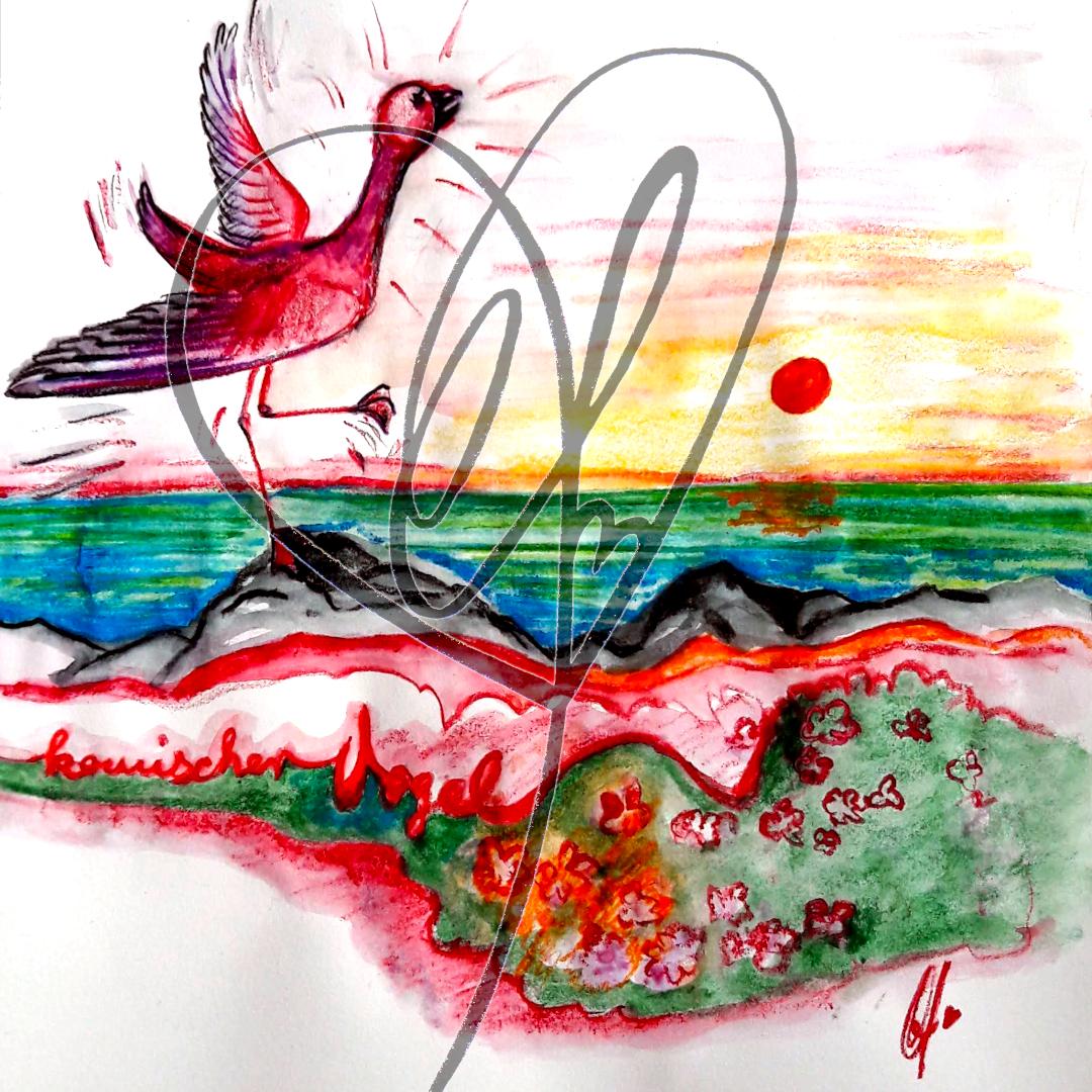 """Skizze """"Komischer Vogel"""" 2020 von Katrin Firtzlaff"""